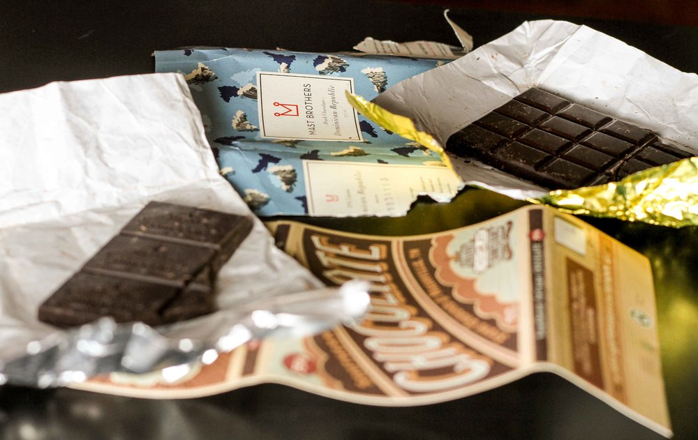 Chowed down on two amazing bean-to-bar chocolates: Mast Brothers chocolate from Brooklyn, NY and Olive and Sinclair chocolate from Nashville, TN.  I found these truly special bars at the Sweet Spot in Short Pump.