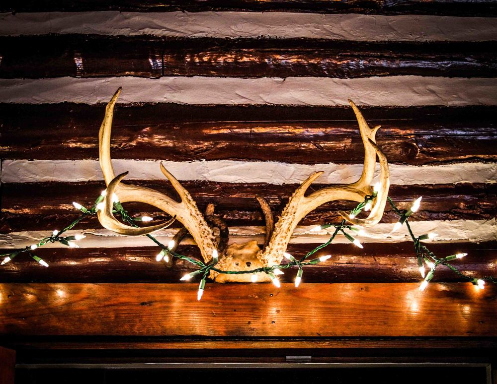 Antlers and Christmas lights adorned the entrance to Tanglewood Ordinary, Richmond's best kept secret for real country cooking.