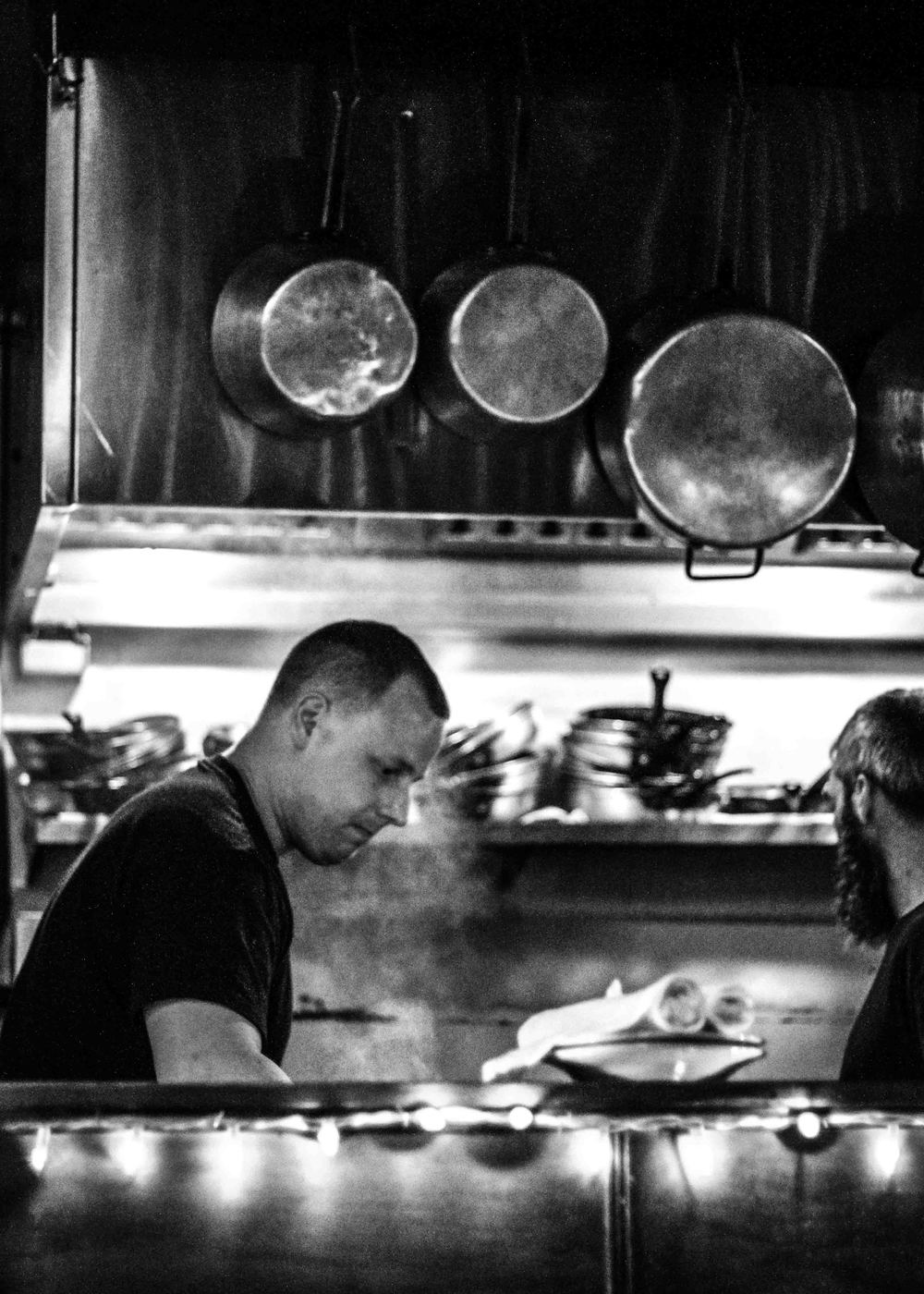 I have voyeuristic tendencies and love when restaurants have open kitchens. Pictured are the Bacchus cooks hard at work.