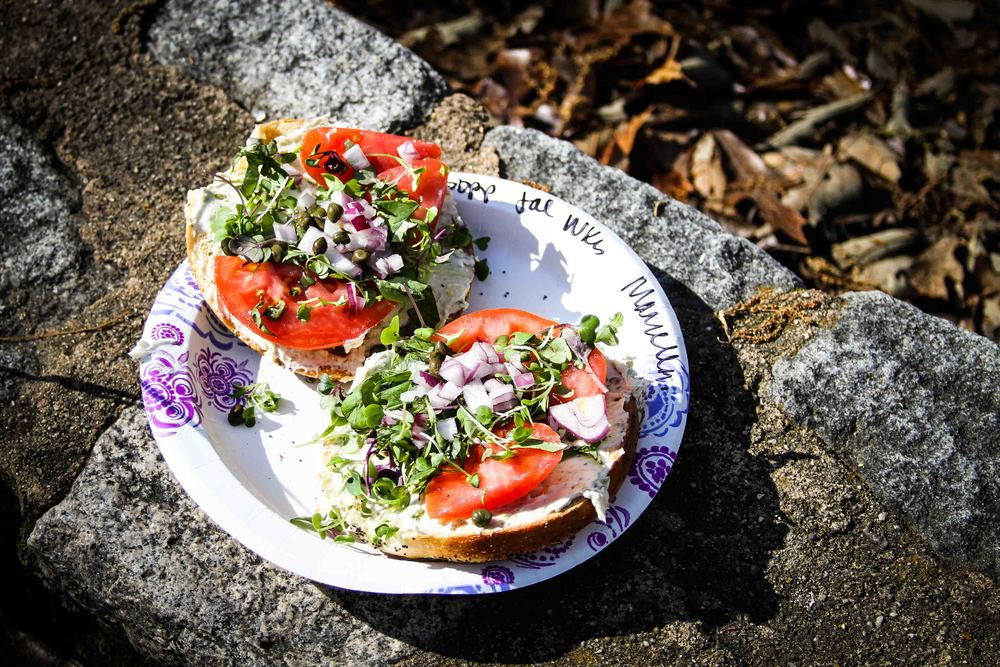 I'm obsessed with the bagels with 'the works' ($6) from Kitchenette at the South of the James Farmer's Market. They use local Cupertino's bagels and top them with cream cheese (i love the jalapeno), super fresh tomatoes, micro-herbs, capers, and diced red onion. l look forward to it all week long.