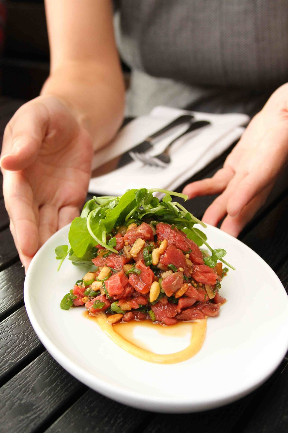 I recently made yukhoe (Korean beef tartare), so I was excited to try my cousin's version. The Asian pear and pine nuts added wonderful texture to the dish.