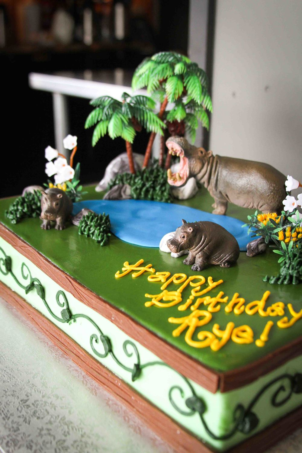 The birthday boy got a cool hippo cake, which was also extremely delicious.