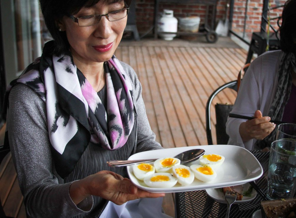My mom serving up perfect soft boiled eggs