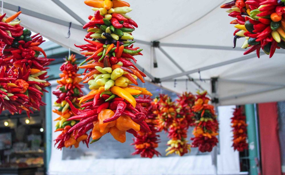 Gorgeous peppers sold at Pike Place