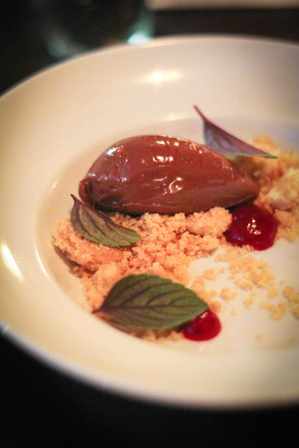 Chocolate cremeux, cranberry, foie shortbread, basil