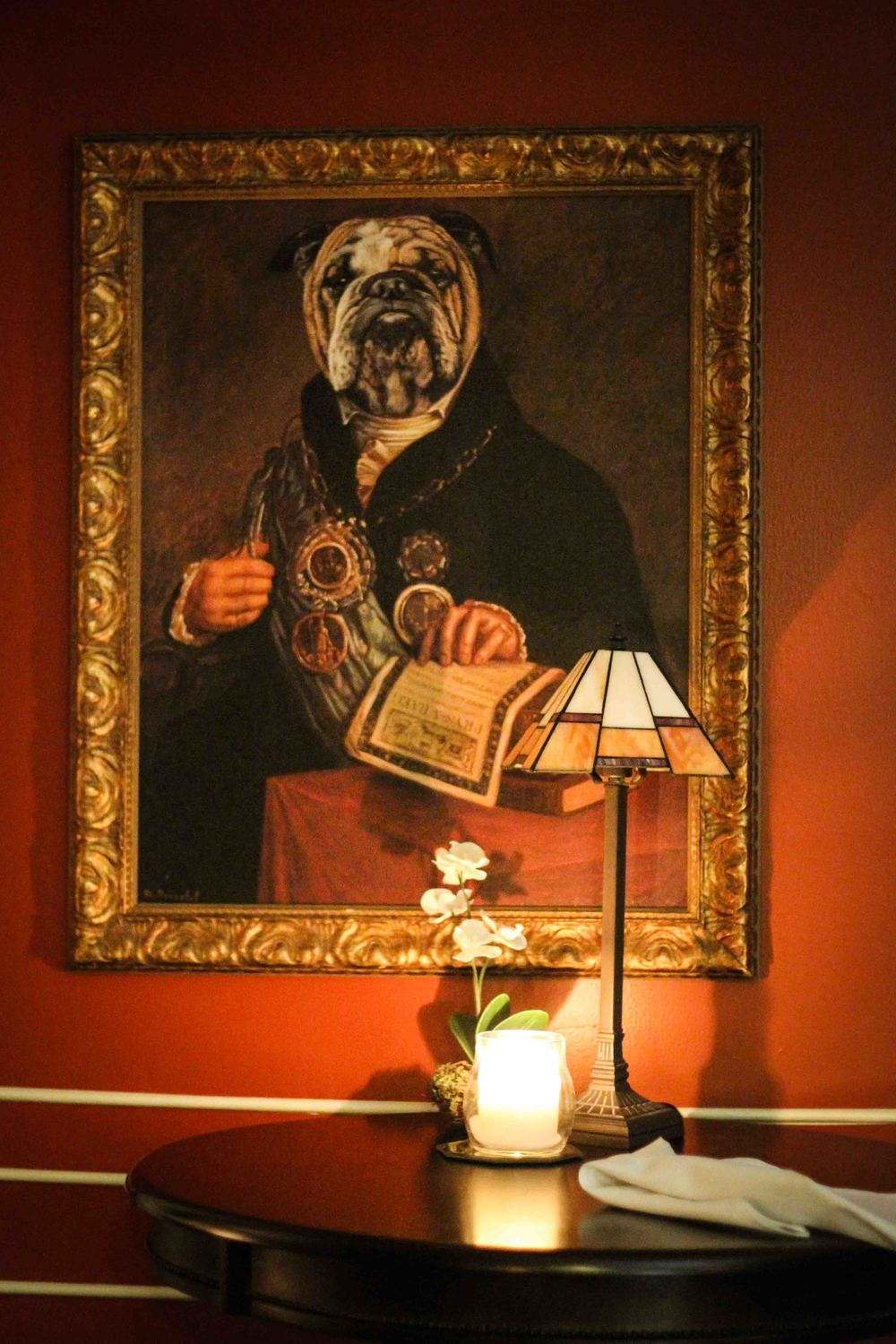 Smoking lounge art...I have a thing for english bull dogs
