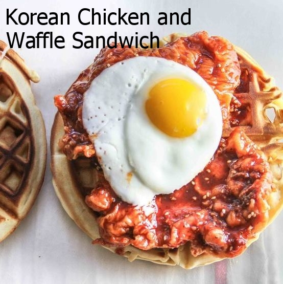 Korean Chicken and Waffle Sandwich