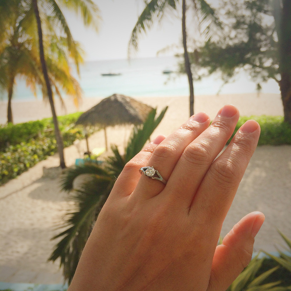 While we were in Cayman Tommy proposed. We're thinking about going back to get hitched.