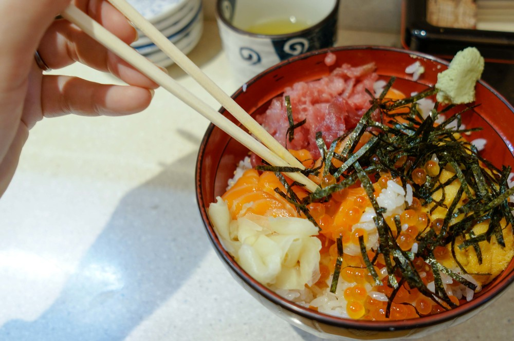 The most delicious chirashi sushi with salmon, salmon roe, tuna, and sea urchin. Everything was so fresh and sweet!
