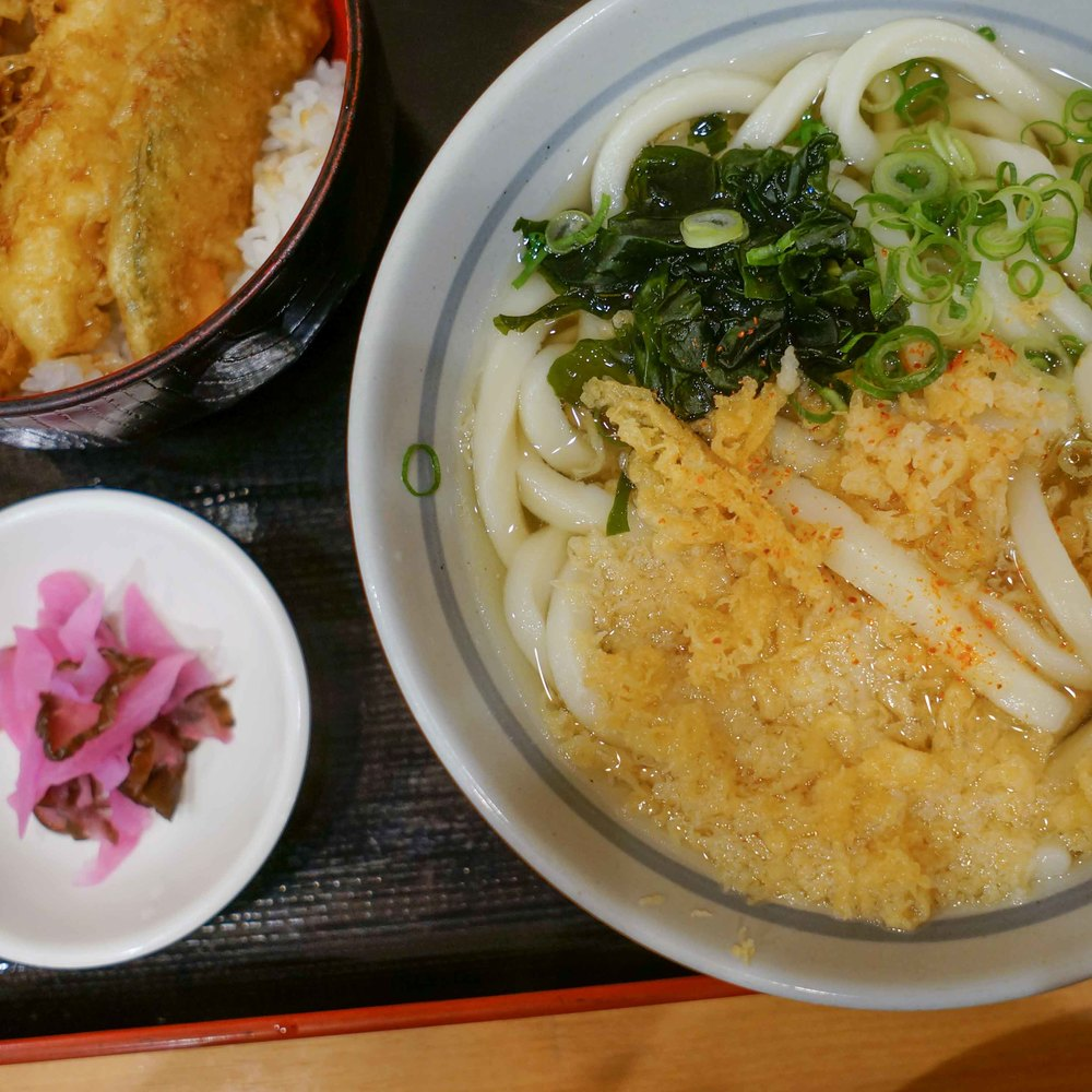 Udon, tempera, and pickles for breakfast