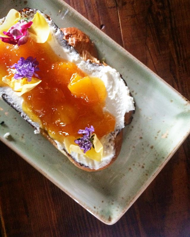 The challah toast with fromage blanc and apricot vanilla jam from Thackeray in Seattle. Was delicious!! @thackerayseattle #bestbrunch #iloveseattle #seattleeats