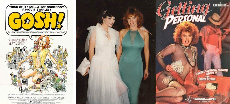 "L to R: The poster for "" Alice Goodbody ""; Brennan (in green) and  Jacqueline Lorains  (in white) at the Adult Film Association of America's Erotic Film Awards in 1982; the box cover of "" Getting Personal ."""