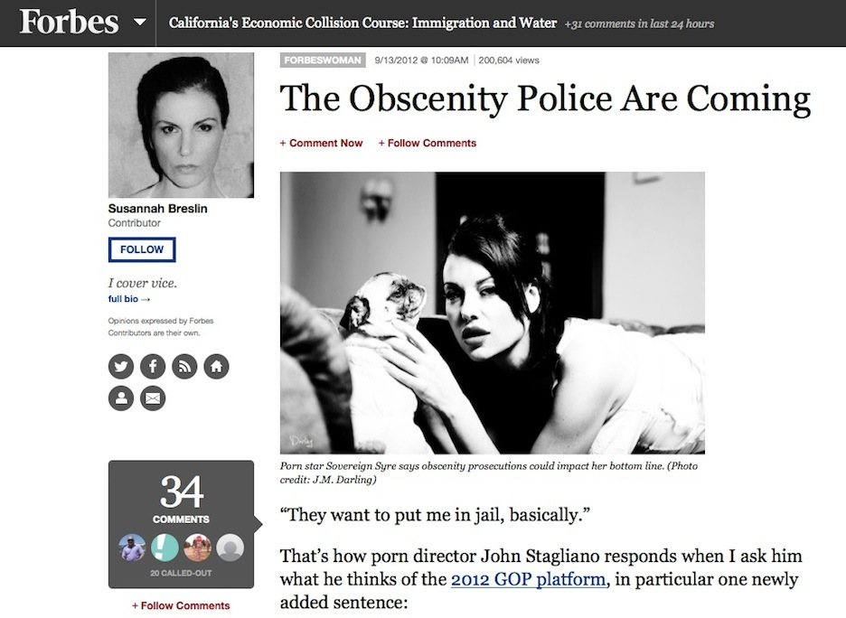 """ The Obscenity Police Are Coming ,"" Forbes.com, September 2012"
