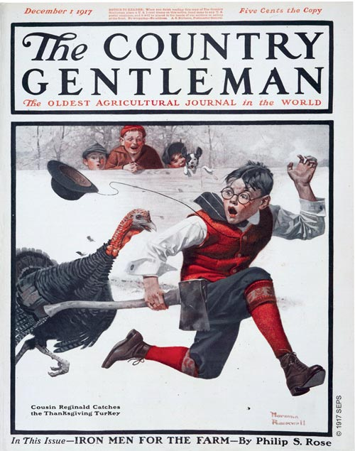 Cousin Reginald Catches the Thanksgiving Turkey / Image credit: Norman Rockwell