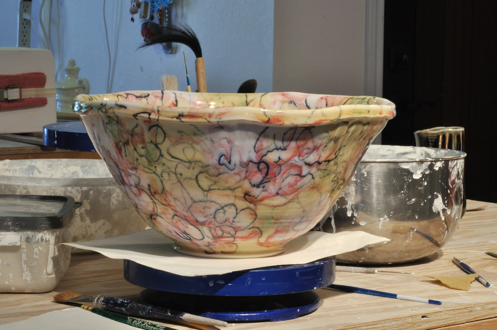 persimmon flower bowl fired