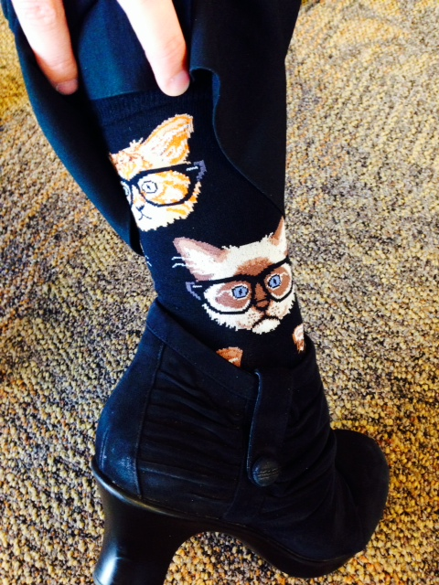 If I see an article of clothing with glasses on it, I have a really hard time not buying it. Socks with kitties wearing glasses! Yes please!    SELECT   to learn more about Alison Rolli (Wisconsin).   VIEW   Alison's entire blog.