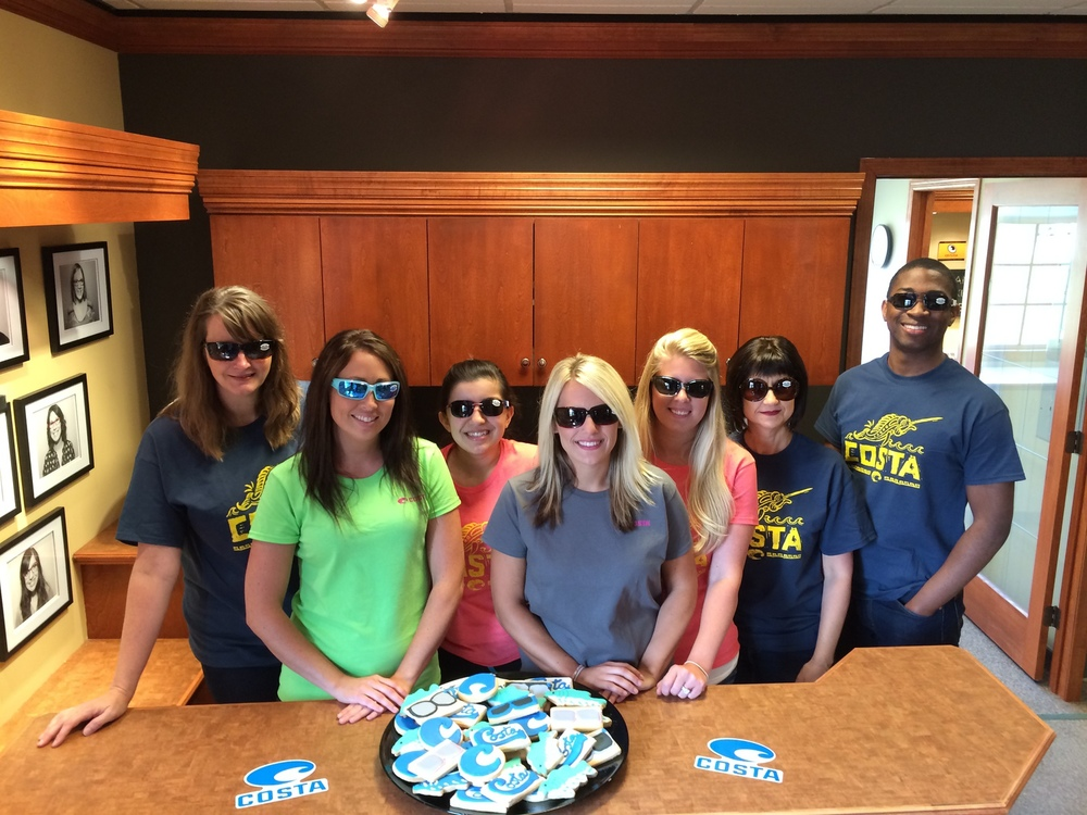 We had a Costa Del Mar trunk show this week. The rep came in with the entire sunglasses collection. And, we had cookies made by a local baker in the shape of fish and the Costa logo. We also entered every client that made a purchase into a drawing for a $50 Cabela's gift card. This is a new line for our optical, so it was a great way to spread the word.
