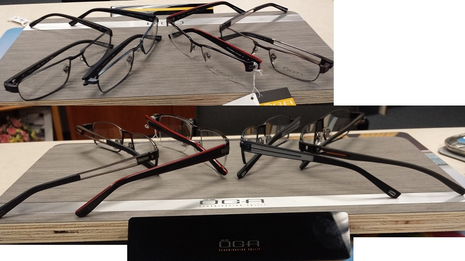 Pictured are Oga styles: 72330 (with the open temple), 74060 (black and red frame) 74110 (the blue frame) and 71800 (brown with orange accents.)