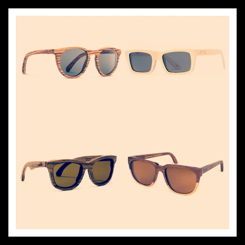 Frames pictured: Belmont Zebrawood by Shwood Eyewear, Boise Maple by Proof Eyewear, Bombay Walnut by Parkman, and Bonnie/Clyde Two Tone by Capital Eyewear.