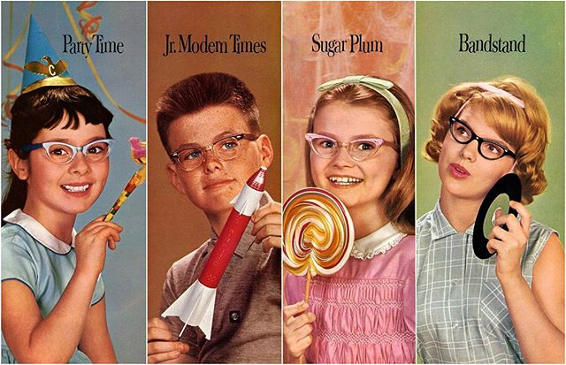 "The history of getting kids to wear their glasses by @zeissvision  Long before there was a Harry Potter to emulate, kids who wore glasses felt very self-conscious. Glasses were taken as a sign that you were an ""egghead"" – maybe smart, but socially awkward. Kids with poor vision got called ""Four Eyes,"" and maybe stuck their glasses in their pocket, especially if they saw the local bully approaching.  But this was no solution – glasses only work if you wear them. And uncorrected poor vision in children leads to learning difficulties and bad grades. So eyeglass companies like American Optical knew they'd have to turn this perception around if they wanted kids to keep their glasses on.  A new exhibit at the Optical Heritage Museum gives us the history of making glasses seem cool to kids. This effort goes back a long time – from the Boy Scout Glasses marketed in 1916, through to ads like the one above making 1960s teenyboppers in cat-eyes seem like the coolest kids in town. (Seriously, I think that girl on the right might be Taylor Swift!) Read more at DailyOptician.com - link in bio. . . . . #ZEISS #DailyOptician #eyewear #glasses #kids #foureyes"