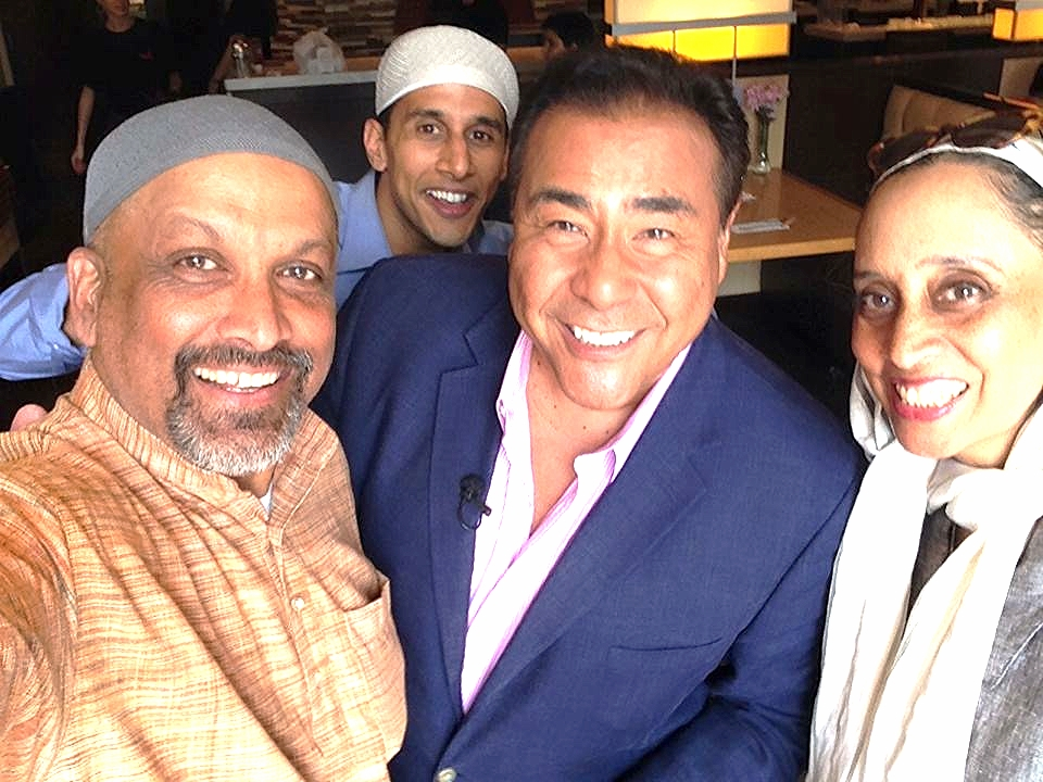 Me photobombing John Quinones (center) taking a selfie with actors Siraj Huda and Marie Guinier, my TV parents.