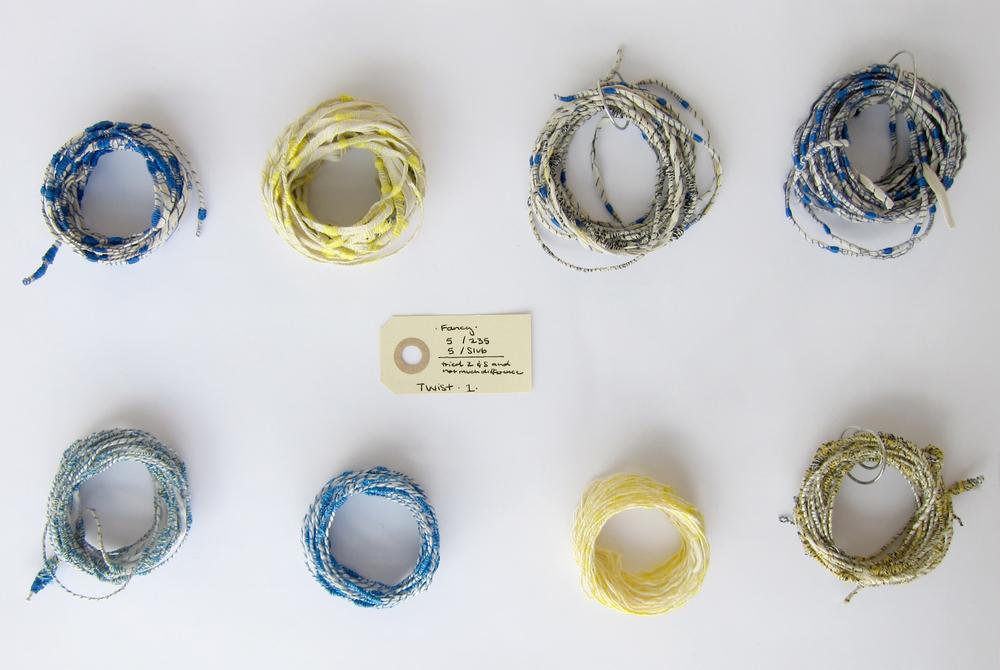 Handmade 'Fancy' Yarn  Textile graduate work, Denmark
