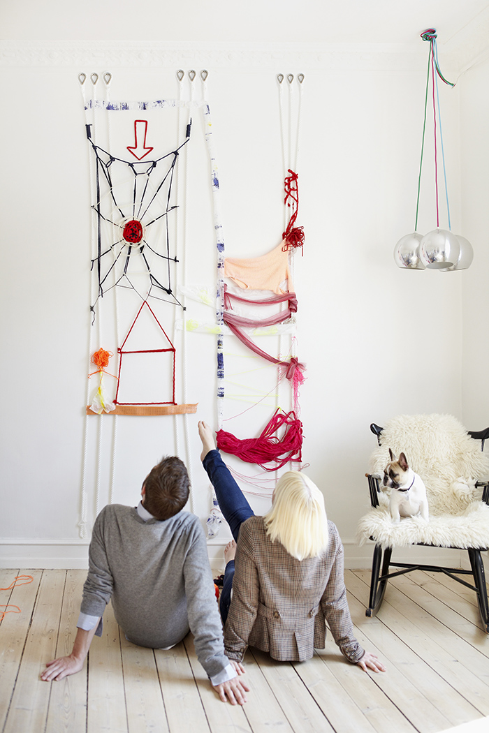 Tie Up, a loom for the wall  Textile graduate work, Denmark