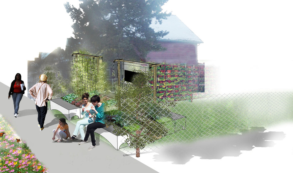 In-progress perspective of the Aurora/St. Anthony Peace Garden entry