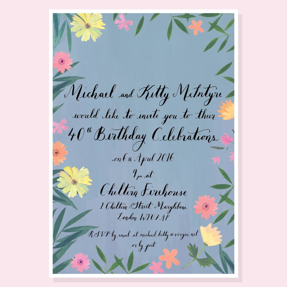 Kitty and Michael - Tropical Floral Invitation
