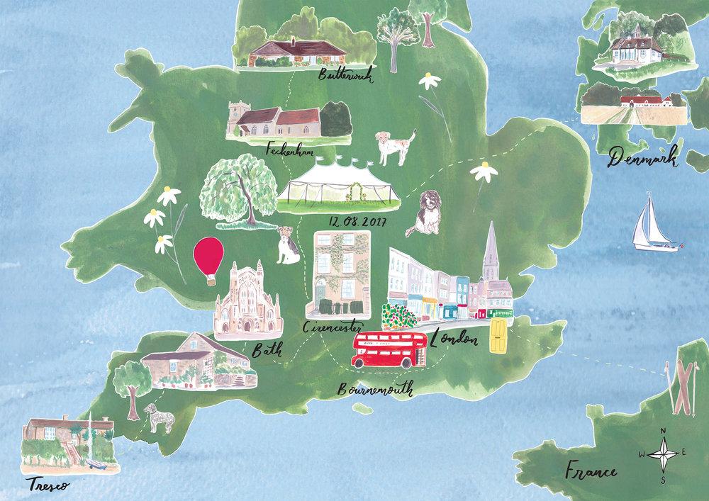Wedding Map for Anna and Simon