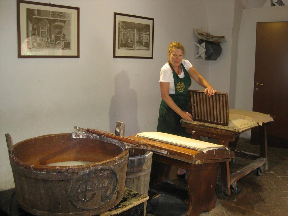 Incredibly, making paper at Museo della Carte e della Filigrana a.k.a. Fabriano Papers established in 1289 in Fabriano, Italy. Photo credit: Helen Hiebert