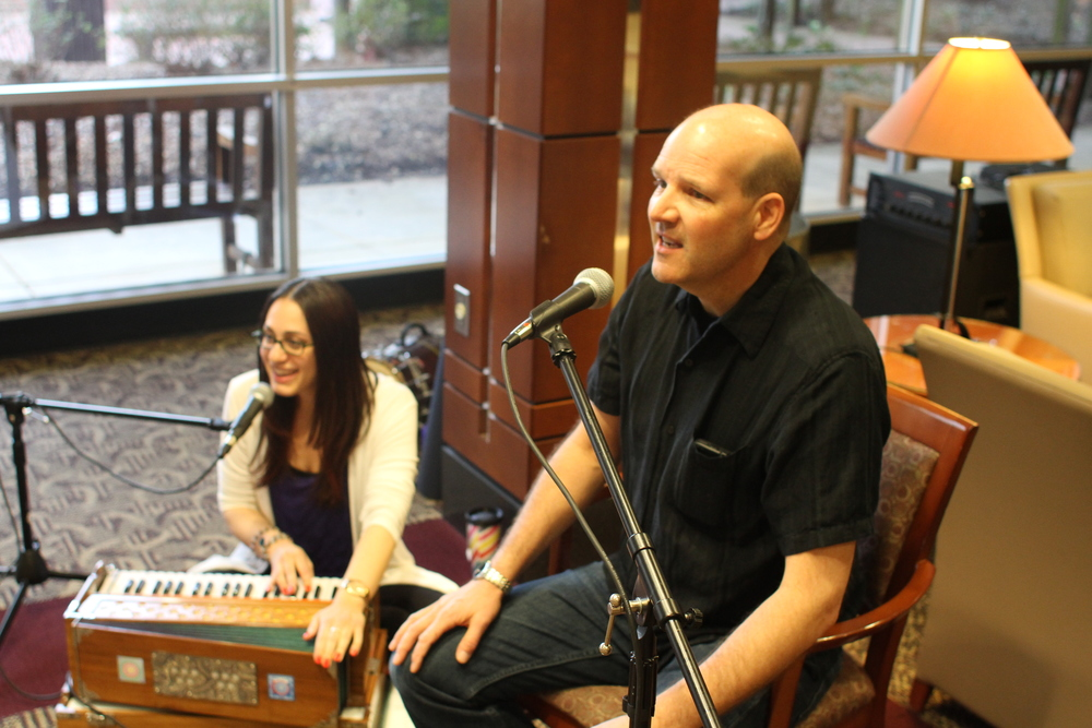 Kirtan music played by Dani Strauss and Steve Cole providing meditative songs and sounds