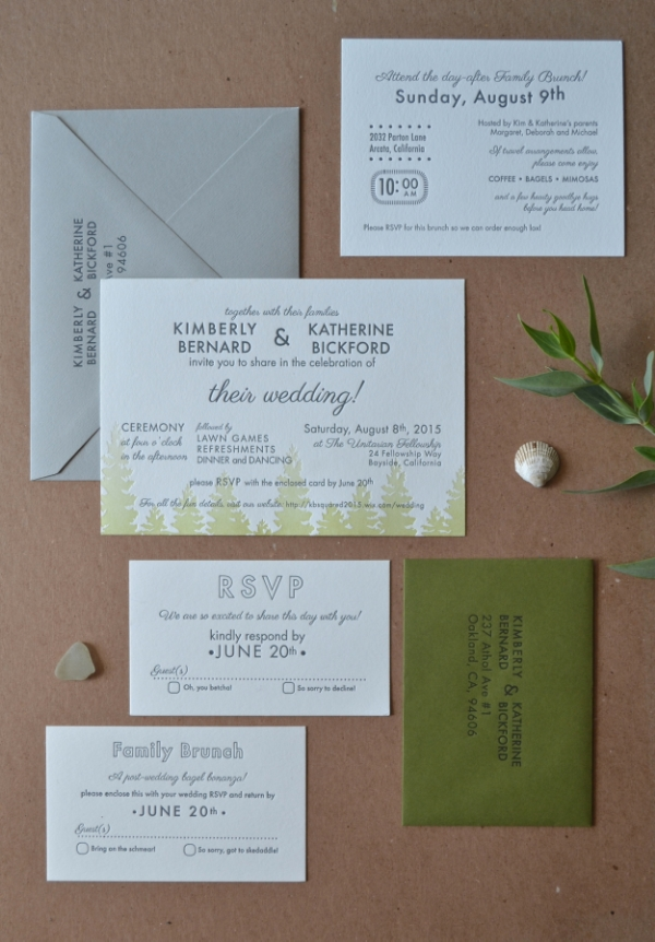 Invitation printed by Ladybones, designed by the couple.