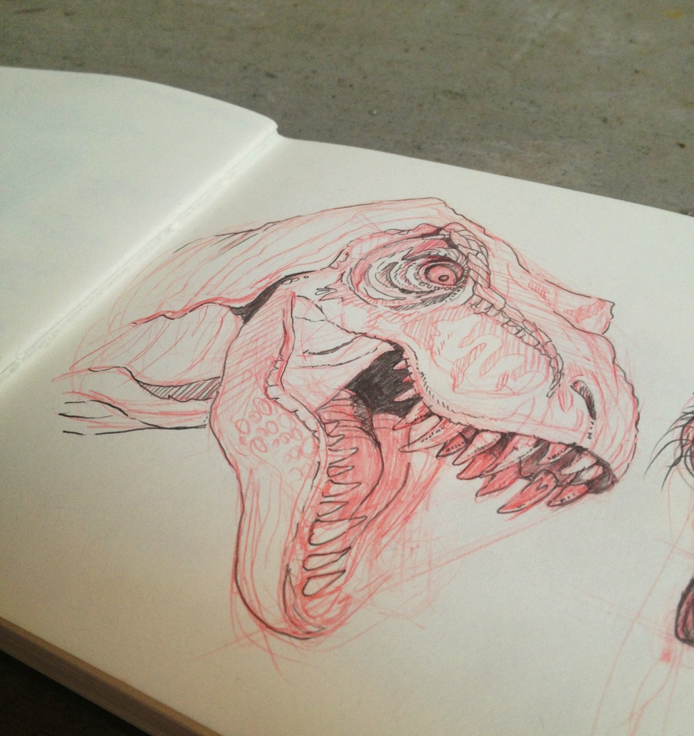 Sketch of T-Rex by Chloe Yingst | chloedraws.com