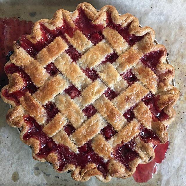 Cherry pie and strawberry rhubarb on the menu #pies #losangeles #foodphotography #dessert #thereneedstobeapieemoji
