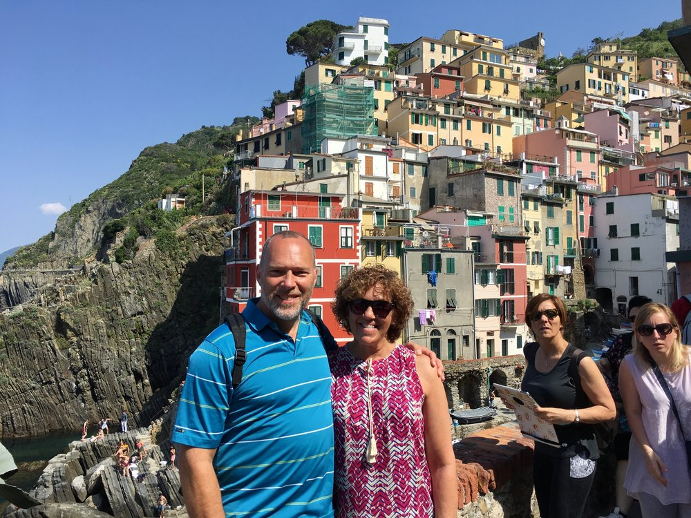 Sorry, but I'm not sure if the photo below was taken in Manarola or Riomaggiore.  But it sure is beautiful scenery.