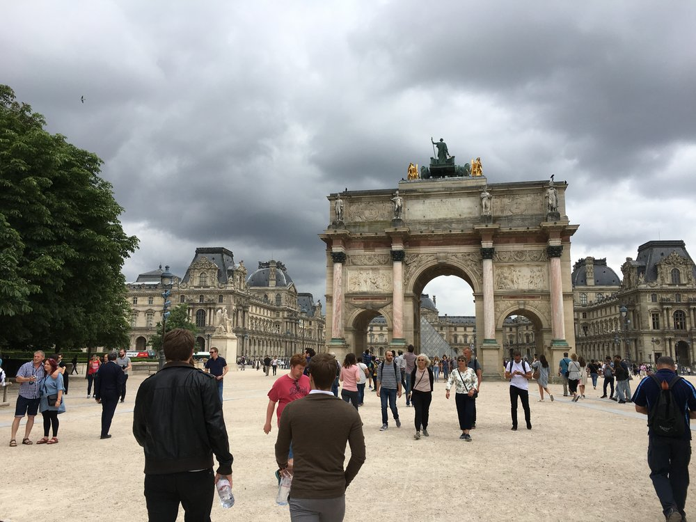 The main entrance to the Louvre.  There were a lot of people here this day, but I am sure it was not as many as have been here on other days.