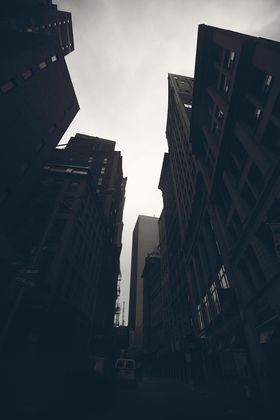 Hurricane Sandy turns the Financial District into a series of dark canyons.   Chris New, 2012.