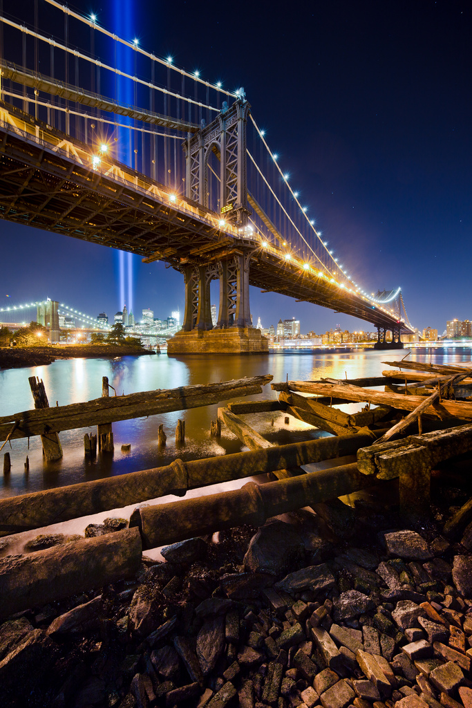 The Manhattan Bridge & The Tribute in Light (by  RBudhu )