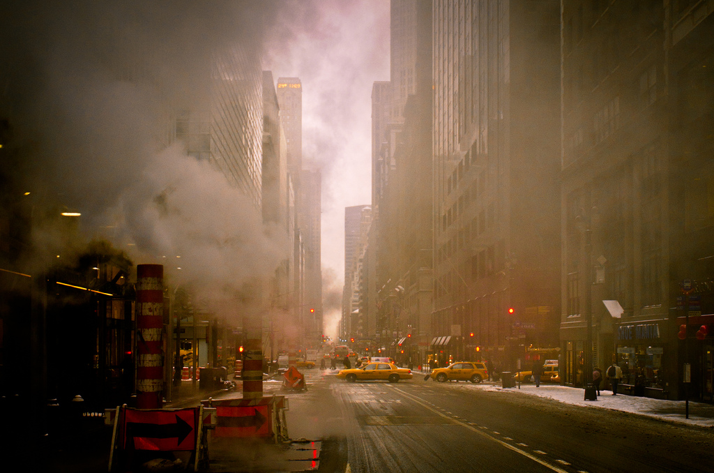 newyorkcitydreams: NYC,the steam (by Sunset Noir)