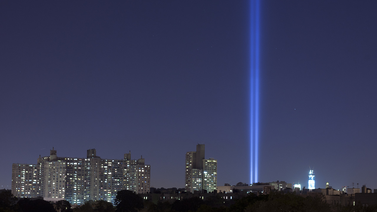 "The ""towers of light"" beaming up from Ground Zero as part of the annual 9/11 Memorial in New York City, as seen from five miles away in Crown Heights, Brooklyn."