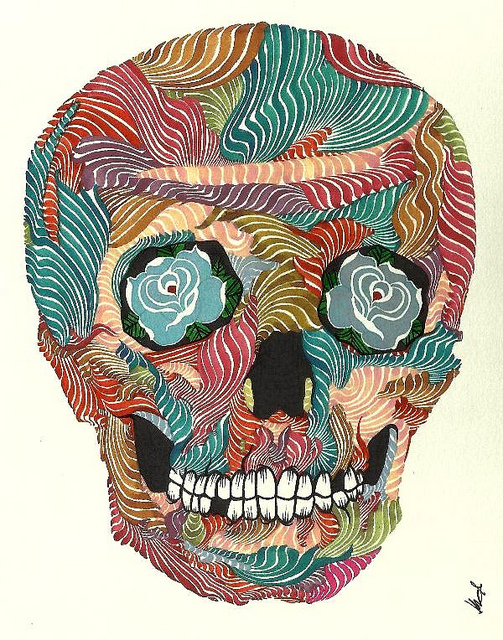"fuckyeahpsychedelics: ""Caveira - (1)"" by Kael Kasabian. on Flickr."