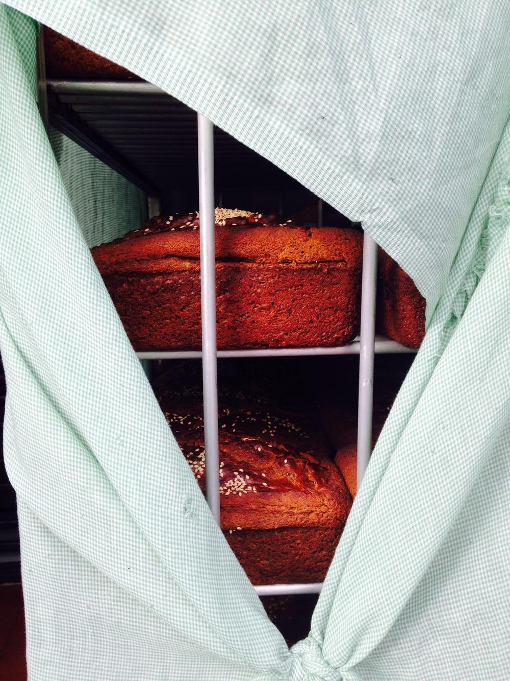 fresh baked banana bread in a bakers door.