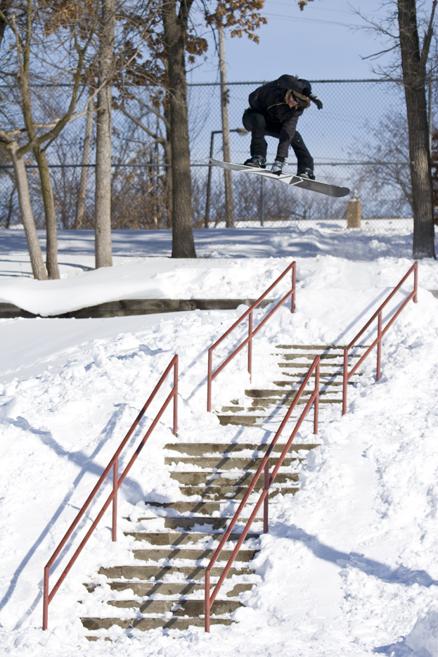 Zac Marben. Tweaked Mute to Boardslide. Featured in Snowboarder Magazine, 2012.
