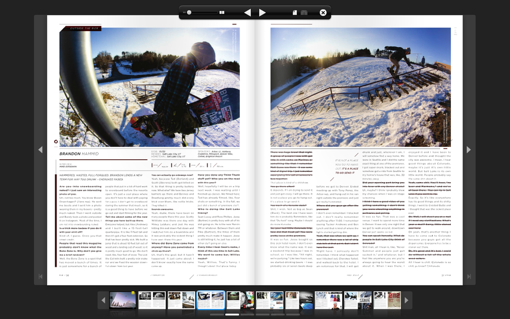 Brandon Hammid, AKA, Buffmoose. Two Page Spread in Snowboard Colorado for a Check-Out. Images were shot somewhere in Michigan...