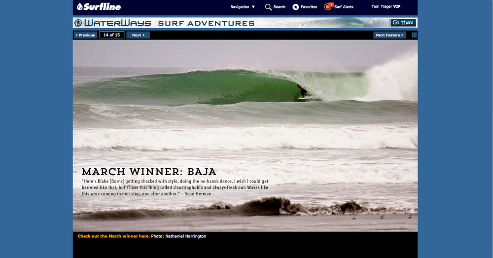 Blake Burns Baja Barrel featured on Surfline.com