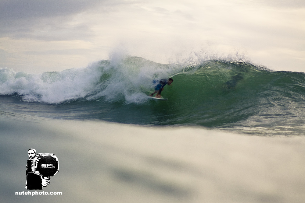 Keith found the funkiest wave we've ever seen. It jacked up just as he dropped in to give him this joy ride. The conditions were a little unusual this morning at Monster Hole. Well surfed Keith!