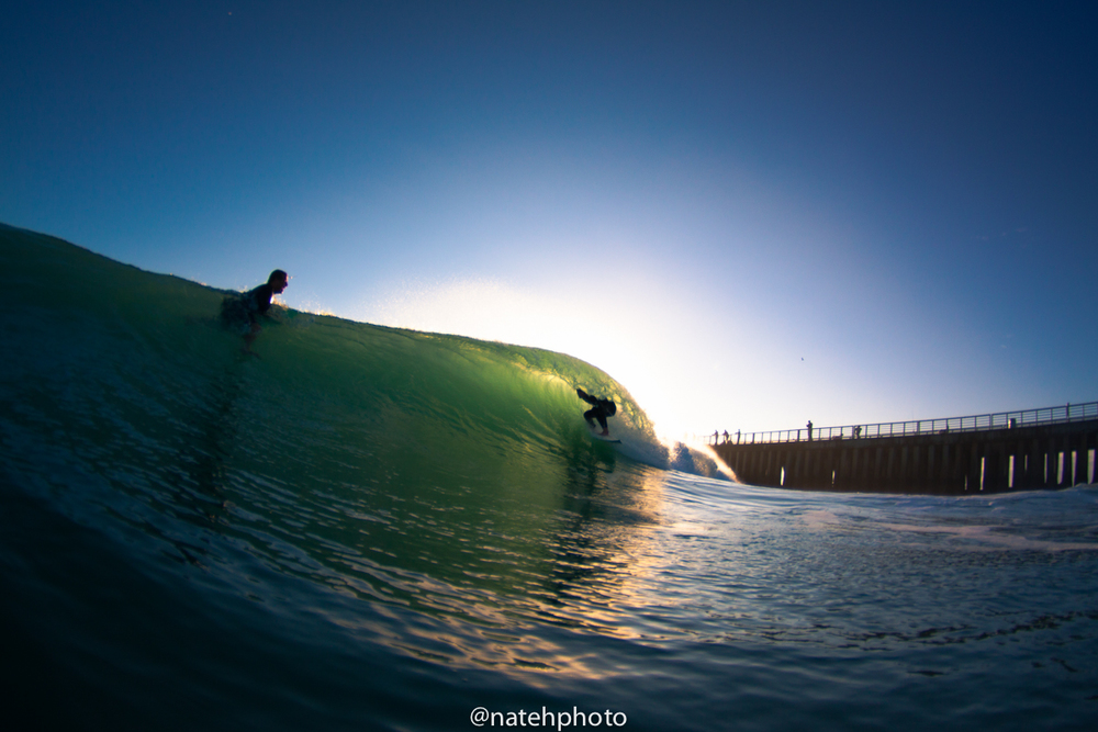 It's not always my focus to try to shoot the wedging barrel that takes place at first peak, but it sure can look nice when its right! Here's Wiley tucking in on a fun backlit one.