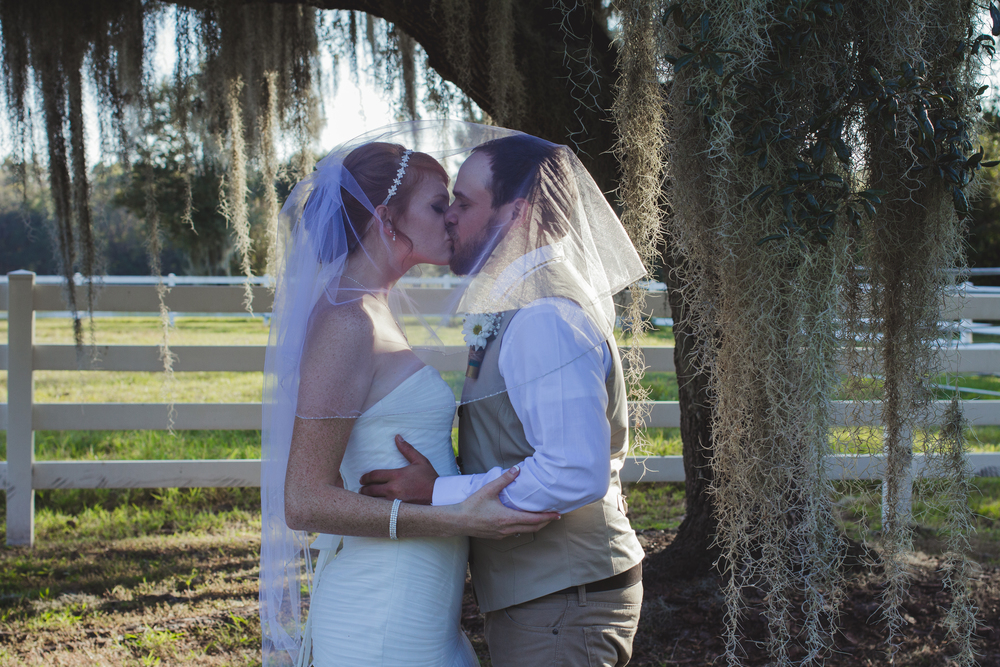 Beautiful Bride and Groom, Trevor and Kathleen Brate. Shot at Rocking H. Ranch in Lakeland, FL.