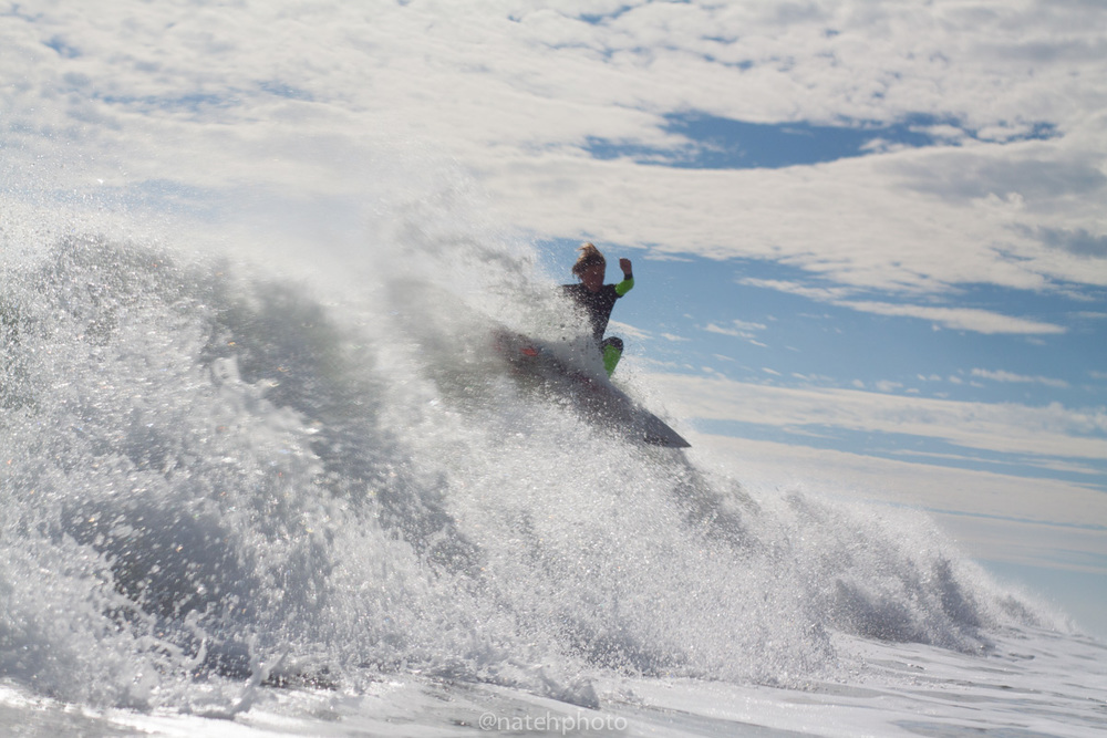 I haven't met this grom yet, but he's powerful young surfer. One more blast on the close-out to finish the wave.